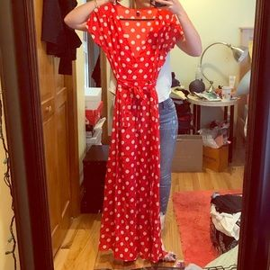 Red maxi dress with white polka dots